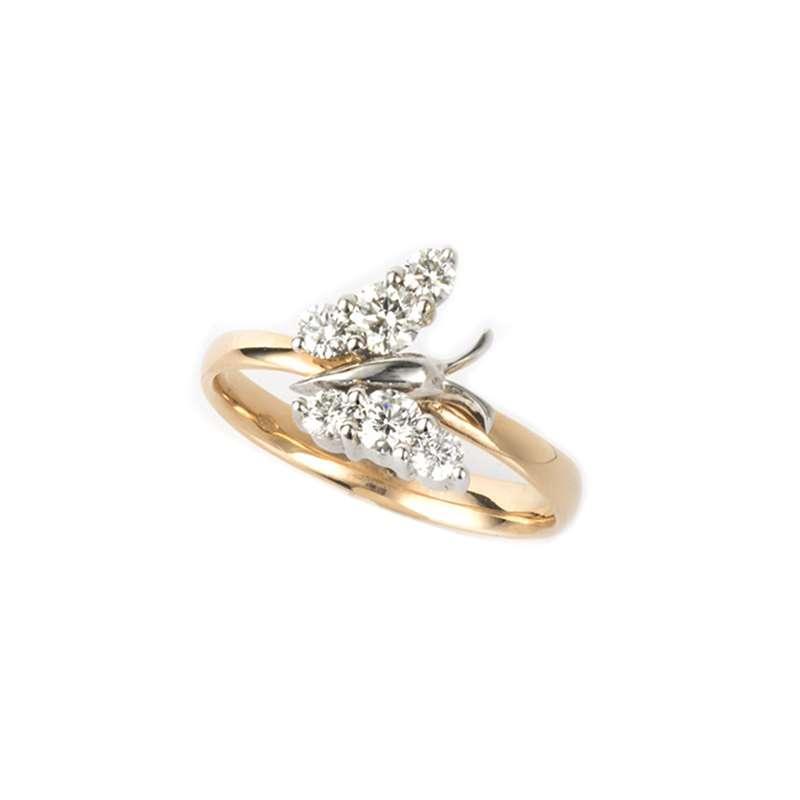 18k Rose Gold Diamond Butterfly Ring 0.55ct G/VS